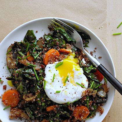 Red Quinoa Bowl with Swiss Chard and Poached Egg | Recipe