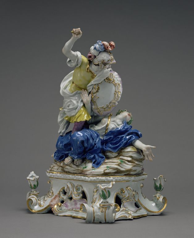 Perseus and Medusa; Produced in the Doccia Porcelain Factory (Italian, about 1735 - 1896), After models by Giovanni Battista Foggini (Italian, 1652 - 1725), Probably made by Gaspero Bruschi (Italian, 1701 - 1780), et al; Doccia (outside Florence), Italy; about 1750; Hard-paste porcelain, polychrome enamel decoration, gilding.