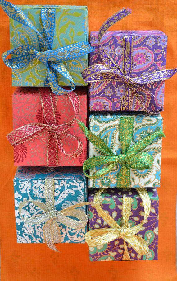 Gift Box w/ Ribbon, Ribbon Box, Indian Favor box, Wedding Favor Box, Cookie Box, Party Favor, Indian Wedding, Wedding Box Favor