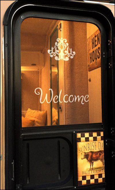 Welcome Stencil on Screen Door Casita Travel Trailer