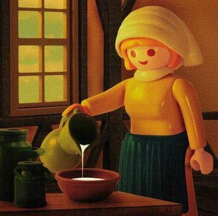 PlayMobil Milkmaid inspired by Vermeer - On a fait une vidéo pour présenter vos projets, un draw my life en 3D :) http://studiocigale.fr/films/?catid=1&slg=29