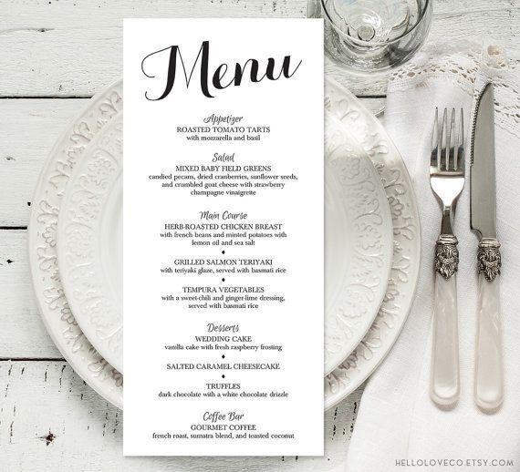 PRINTABLE Wedding Dinner Menu | 4x9 Personalized Wedding Reception Menu | Rehearsal Dinner Menu | Color Changes Included DIGITAL FILE