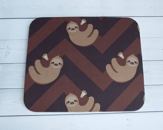 Sloth Mouse Pad  sloth mousepad / Mat  sloth mouse pad  chic / cute / preppy / computer, desk accessories / cubical, office, home decor / co-worker, student gift / patterned design / match with coasters, wrist rests / computers and peripherals / feminine touches for the office / desk decor