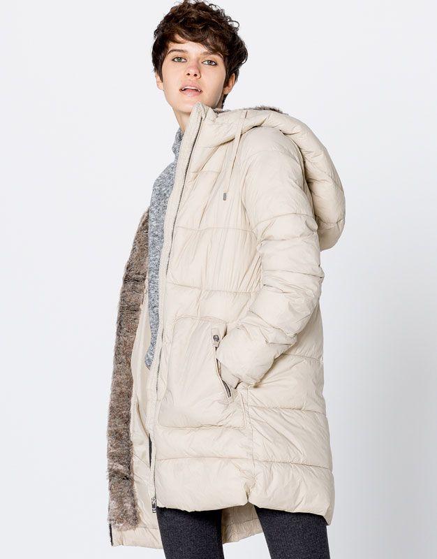 Пальто из нейлона с капюшоном - Пальто и куртки - Одежда - Для Женщин - PULL&BEAR Российская Федерация