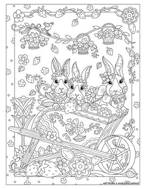 Bunny Wagon Pampered Pets Adult Coloring Book By Marjorie Sarnat