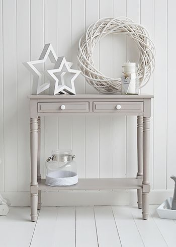 The oxford grey console table. Decorate your home in whites and greys for a nordic, danish, New England or country style