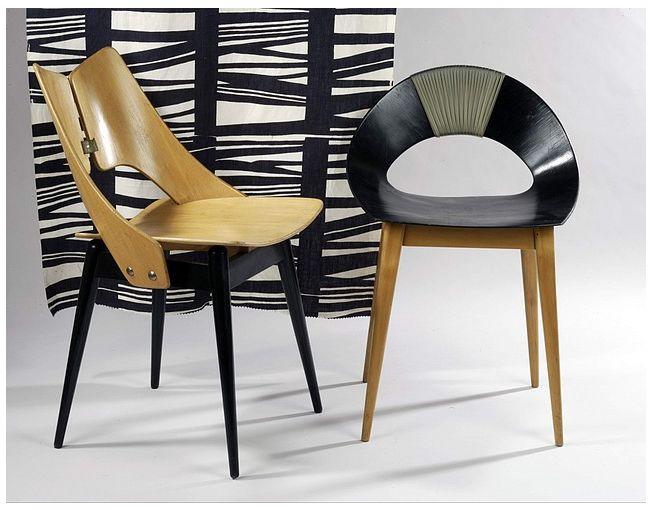 Shell chair designed by the famous Polish designer Teresa Kruszewska | Lungs chair by Maria Chomentowska, 1956