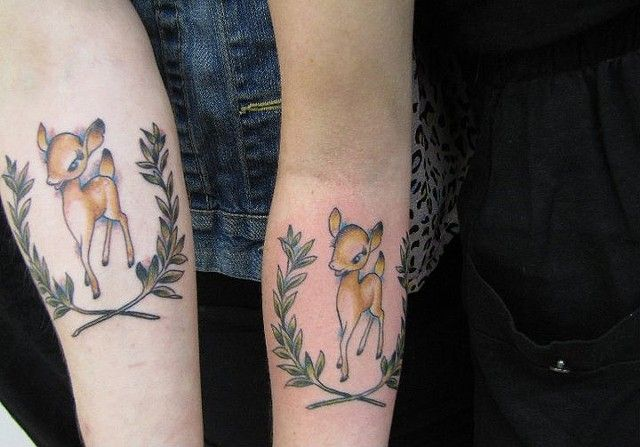 Baby Deer Tattoos by Jack Gribble, Northeast Tattoo and Piercing, Minneapolis, MN, Twin Cities, Fawn Tattoo, Cute Tattoo, Traditional Tattoo, Tattoo Artist