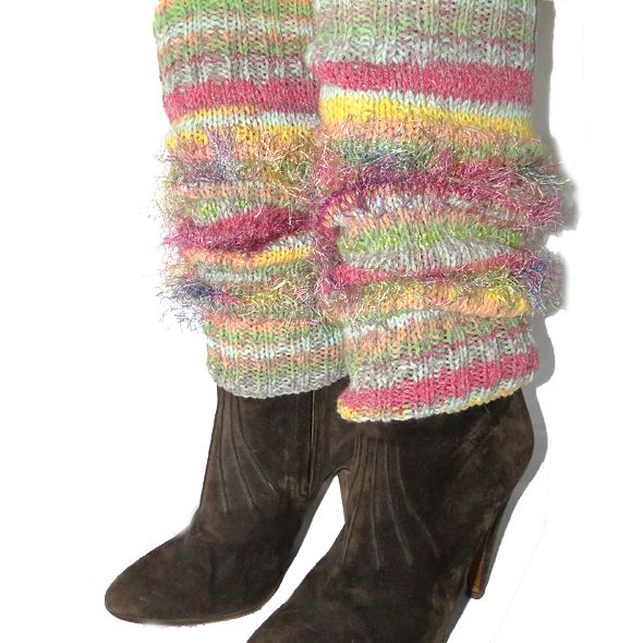 Hand Knitted Leg Warmers - Fruit Cocktail