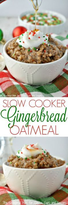 Slow Cooker Gingerbread Oatmeal is perfect for Christmas brunch or as a healthy make-ahead breakfast that you can reheat during the week. It doesn't get much easier than a batch of Crock Pot Oatmeal! #crockpot #oatmeal