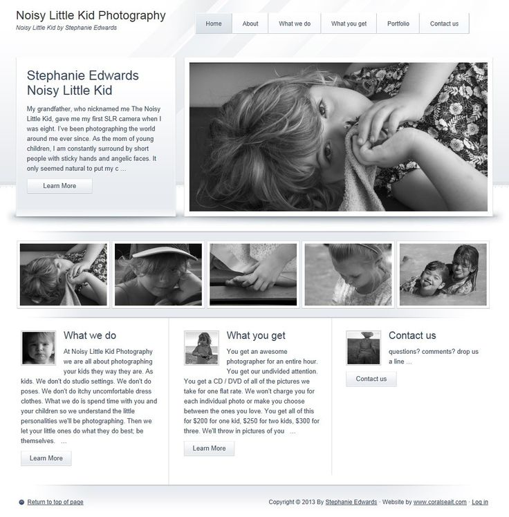 Noisy Little Kid is Children's Photography studio. We worked with them for a custom website featuring their work.