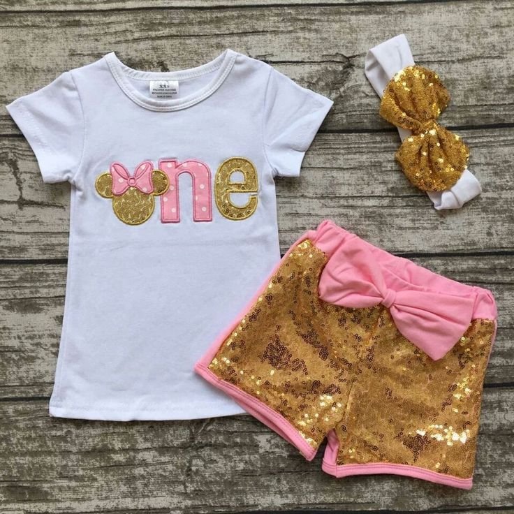 "Minnie ""ONE"" Birthday Pink and Gold Sequin short Set"