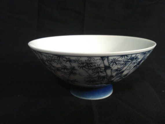 Vintage Asian Serving Bowl Blue and White Bamboo by CraftBinge, $7.99