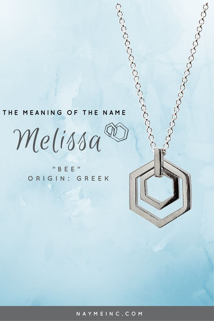 Personalized necklace designed to reflect the meaning of the name Melissa naymeinc.com