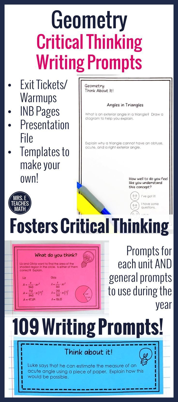 In this YEAR-LONG, NO-PREP resource, high school geometry students will develop reflective and independent thinking, while connecting mathematical ideas. This is READY TO PRINT and will KEEP STUDENTS ENGAGED while deepening their understanding!  It's perfect for interactive notebooks, exit tickets, warmups, or a sponge activity.