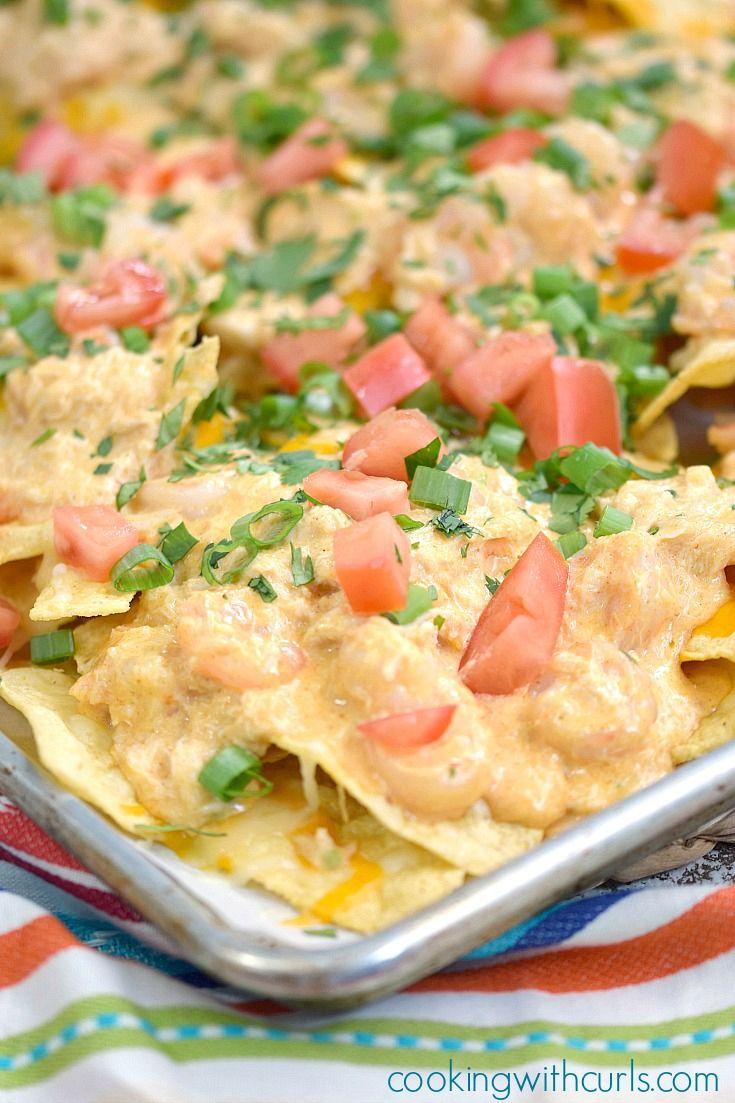 Creamy Seafood Nachos | cookingwithcurls.com #ad #cincodemayo