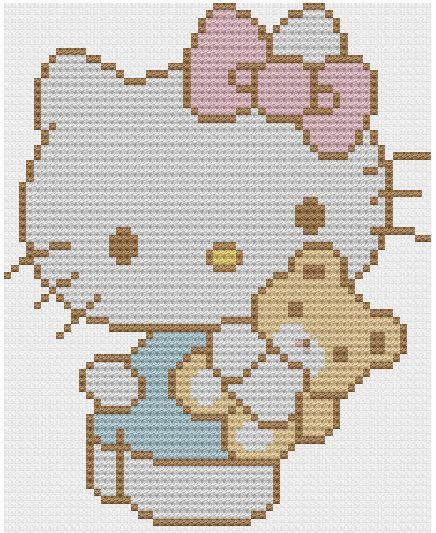Kawaii Hello Kitty cross stitch pattern PDF by NostalgicLacquer