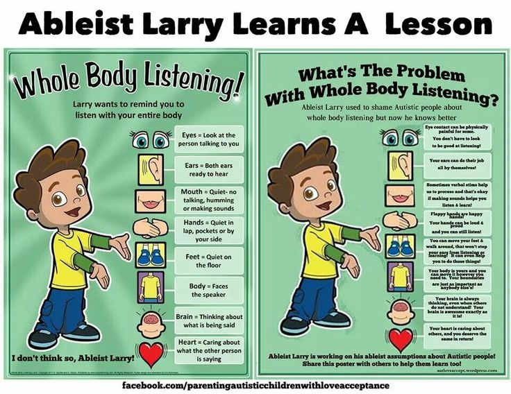 Ableist Larry Learns A Lesson About Whole Body Listening ::: Shared from PACLA's Facebook page. PACLA  is an excellent resource for autism, and also a safe space for autistic people. If you havent checked them out yet, go do it. They will show you what true Autism Acceptance really is.