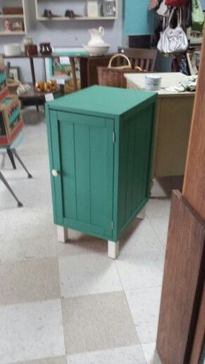Painted teal green storage cabinet for sale at Frugal Fortune. Lakewood,  Ohio. 44107. $79.00. Waxed for a durable finish. #vintage #paintedfurniture #storage #teal #forsale #lakewoodohio