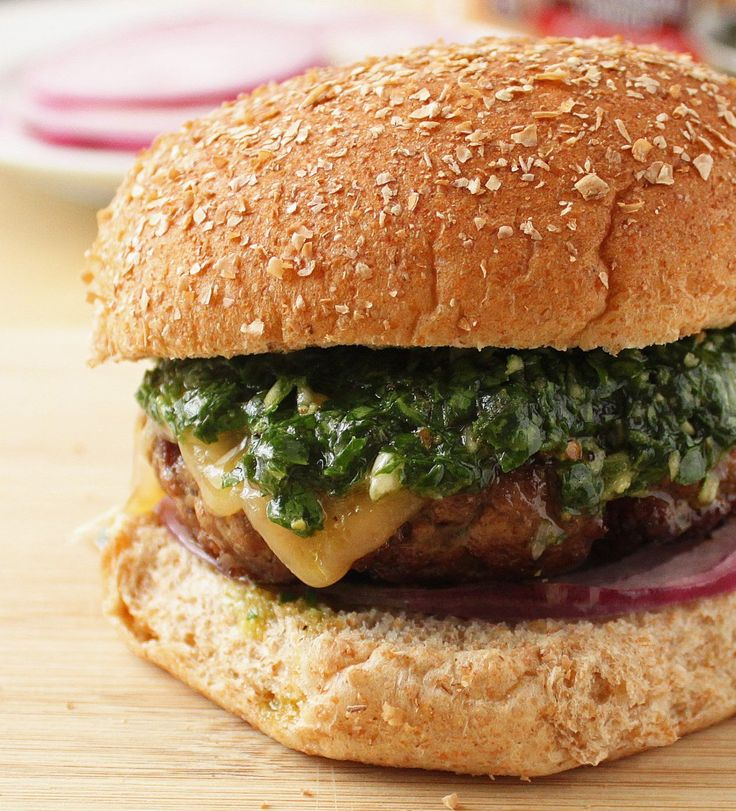 Chimichurri Burgers. Three of us decided that these were the best burgers EVER! So flavorful but don't add anything else. They are perfect just as they are. ******