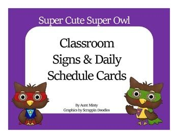Decorate your classroom using these adorable little super owl schedule cards and labels. The cards are designed to be used on your master schedule, your daily schedule, and around your classrrom. Simply print the cards out, laminate them, and attach them to the appropriate schedule.There are 86 cards total.