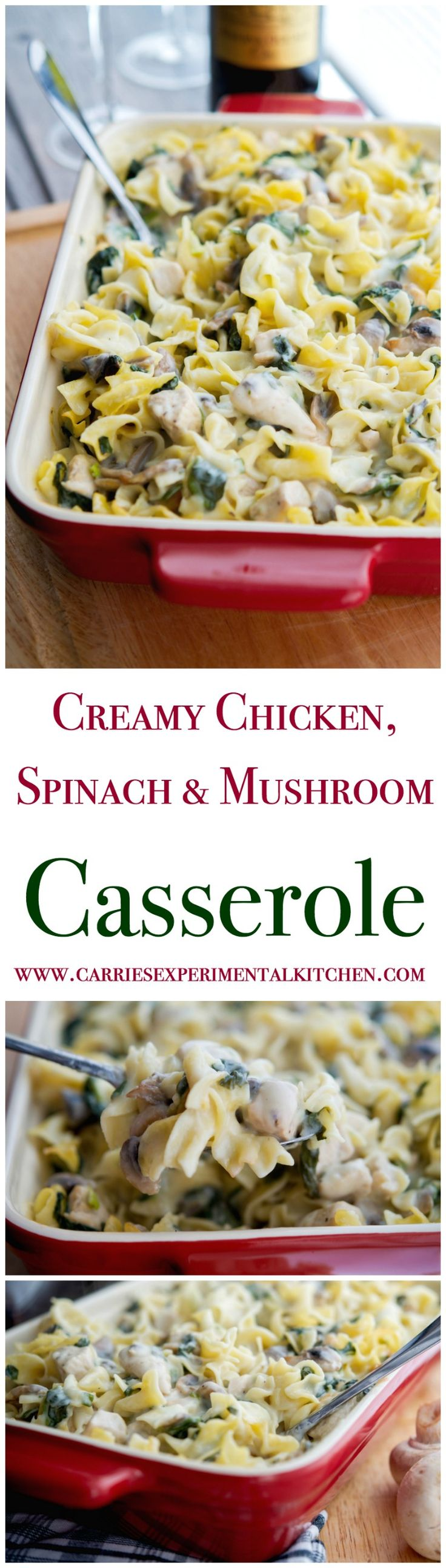 This Creamy Chicken, Spinach & Mushroom Casserole makes for the perfect weeknight meal. Prepare ahead of time and reheat for those busy weeknights too.