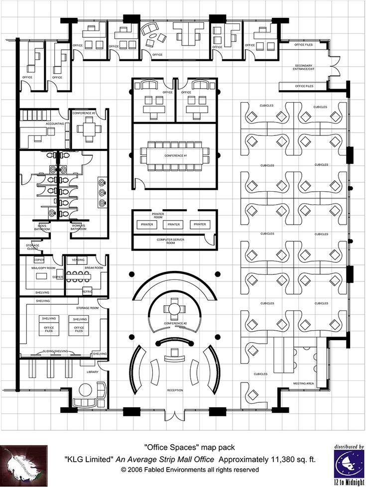 Modern Floorplans: Single Floor Office - Fabled Environments | | Modern FloorplansDriveThruRPG.com
