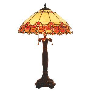 Burnt Table Lamp in Orange and Beige