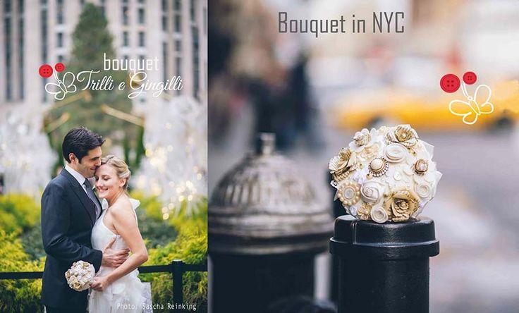 Matrimonio a New York con un bouquet originale oro e bianco. Vuoi anche tu un bouquet così? Vai su: www.trilliegingilli.com