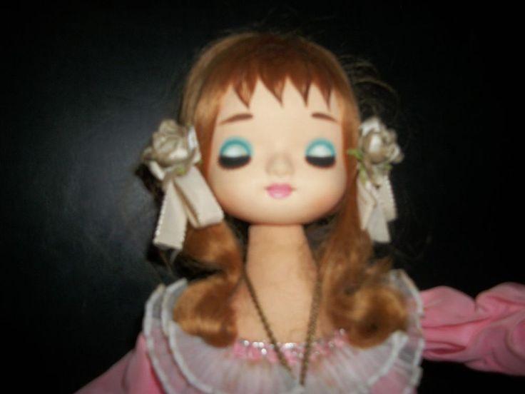 Vintage Japan Big Closed Eye Pose Pink Silk Dress Doll Japan Girl