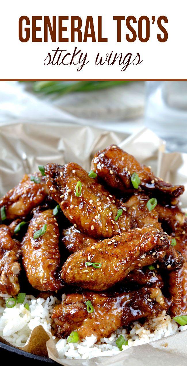 Baked General Tso's Sticky Wings | http://www.carlsbadcravings.com/baked-sticky-general-tsos-chicken-wings/