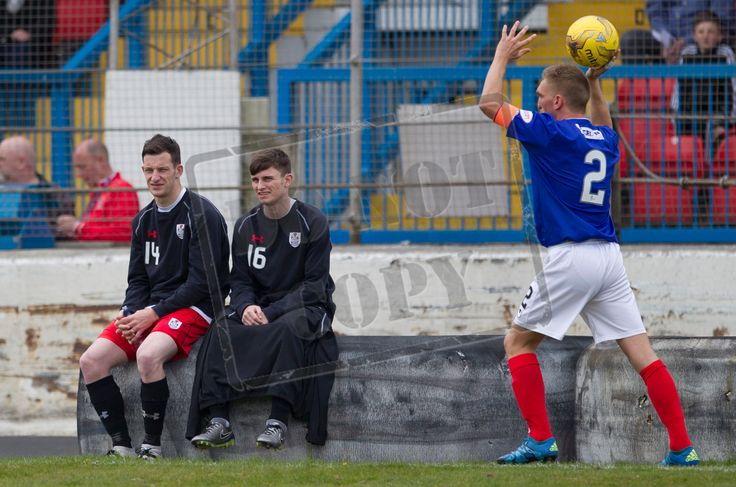 Queen's Park's David Galt and Gavin Mitchell watch on during the SPFL League One play-off game between Cowdenbeath and Queen's Park.