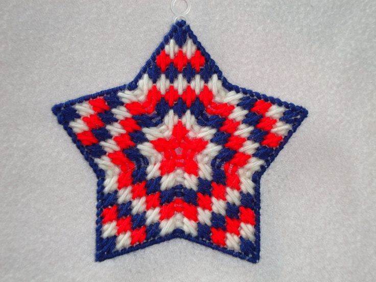 Starburst Ornament-Red, White, Blue-Patriotic, Plastic Canvas Star. $4.00, via Etsy.