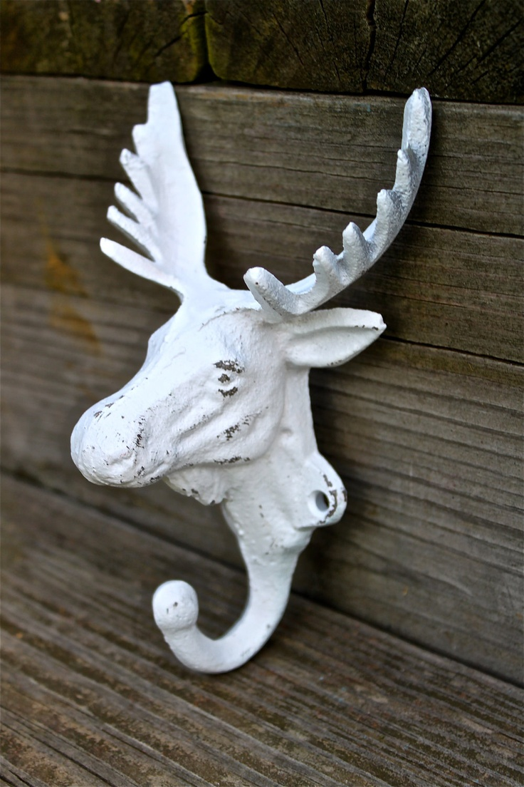 White MOOSE Wall Hook/ Shabby Chic White / Coat rack/ Jewelry Holder /Cast Iron /Rustic /Cabin Decor /Lodge Decor