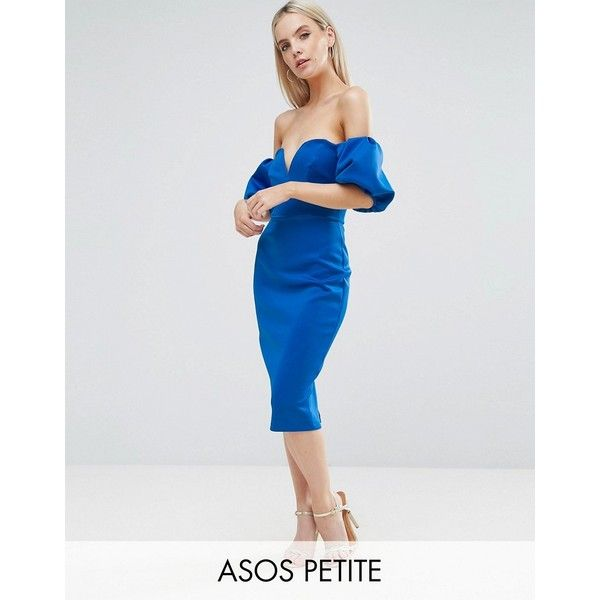ASOS PETITE Scuba Puff Sleeve Bardot Midi Dress ($76) ❤ liked on Polyvore featuring dresses, blue, body con dresses, off shoulder dress, blue dress, off shoulder midi dress and blue bodycon dress