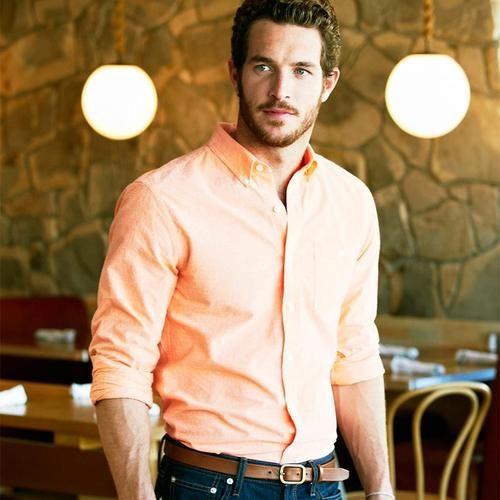 Orange sherbet shirt + Jeans