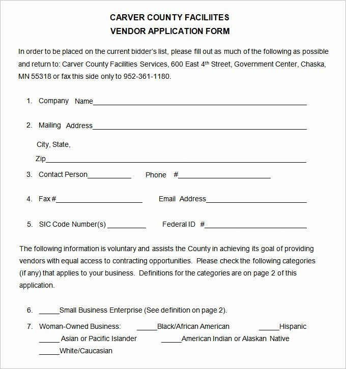 Vendor Application Form Template Lovely Vendor Application Template 12 Free Word Pdf Documents In 2021 Executive Resume Template Application Form Sign Up Sheets