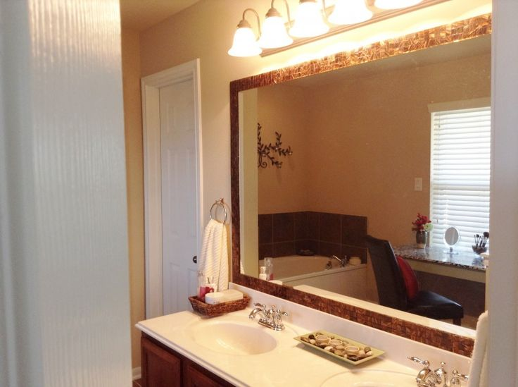 Bathroom Mirror With Brown Frame