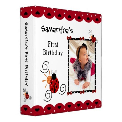 Cute Modern Red White And Black Ladybug Birthday Photo Album For
