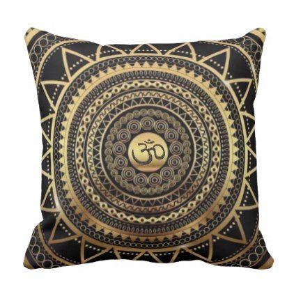 Classy Shiny Black & Gold OM Symbol Mandala Throw Pillow - yoga health design namaste mind body spirit