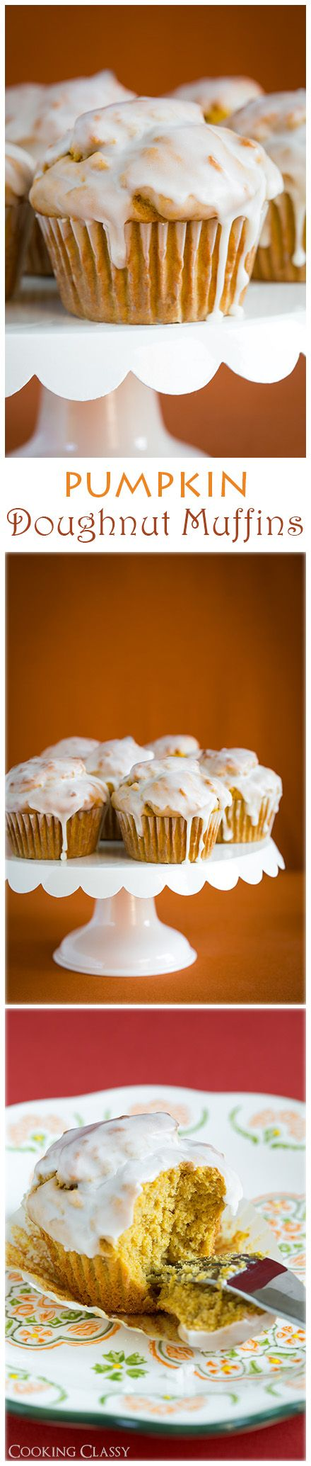 Pumpkin Doughnut Muffins with Vanilla Glaze - these muffins are TO. DIE. FOR.
