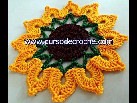 Flores Em Croch 202 084 Flor Girassol Rei Youtube