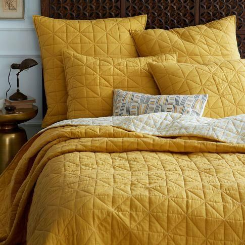 Bedding - Nomad Coverlet + Shams - Golden Gate | west elm - yellow bedding, yellow coverlet, yellow pillow shams, mustard yellow bedding,