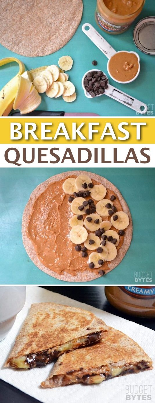 Peanut Butter Banana Breakfast Quesadillas -- Quick, fast and easy breakfast ideas for a crowd (brunches and potlucks)! Some of these are make ahead, some are healthy, and some are simply amazing! Everything from eggs to crockpot casseroles! Your mornings just got a little better. Listotic.com