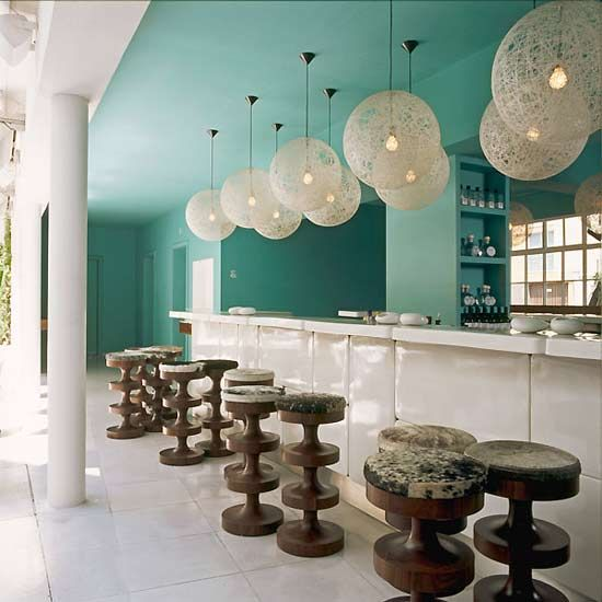 Condesa DF Hotel  — located in the historic district of Condesa, Mexico City, hence the name. Interior designer India Mahdavi-   image from TheDesignerPad