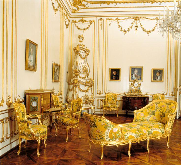 Yellow Salon at Schönbrunn Palace, Vienna, Austria.