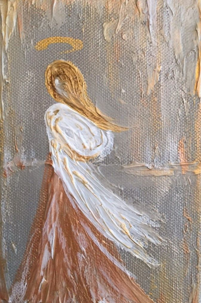 "Artist: Lori Mitchell Custom Figure - Angel Dimensions: 5""x5"" Medium: Acrylic Surface: gallery wrapped canvas This piece is custom made by Lori Mitchell so please allow 2-3 weeks to ship. For more inf"