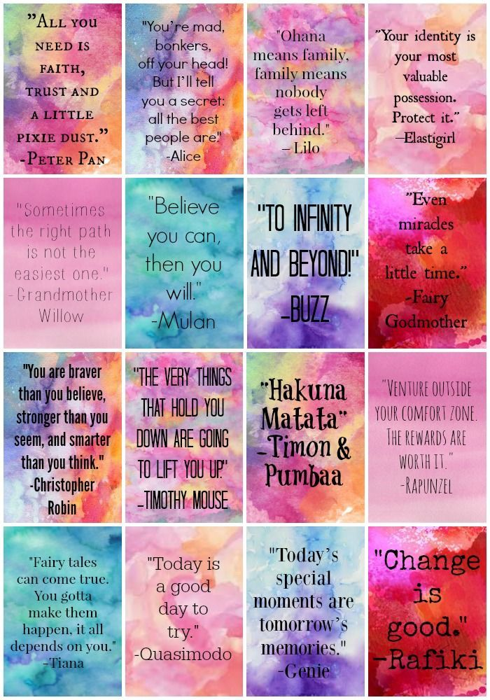 Free Printable Disney Quote Planner Stickers