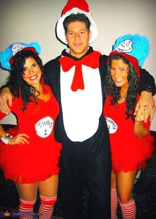 thing 1 thing 2 and the cat in the hat costume costumes for adultsgroup - Great Group Halloween Costume Ideas
