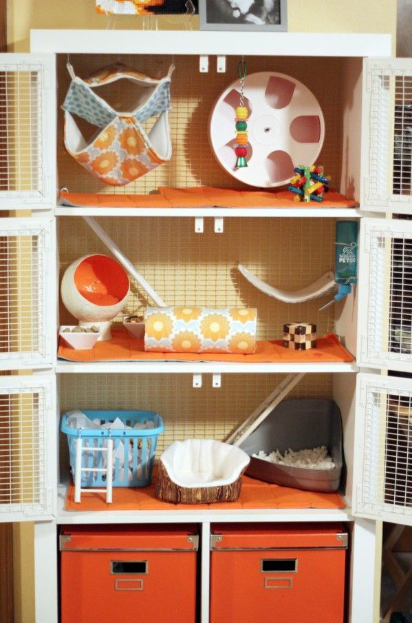 (rat) cage made out of Ikea shelf... with custom designed furniture http://makemoore.com/